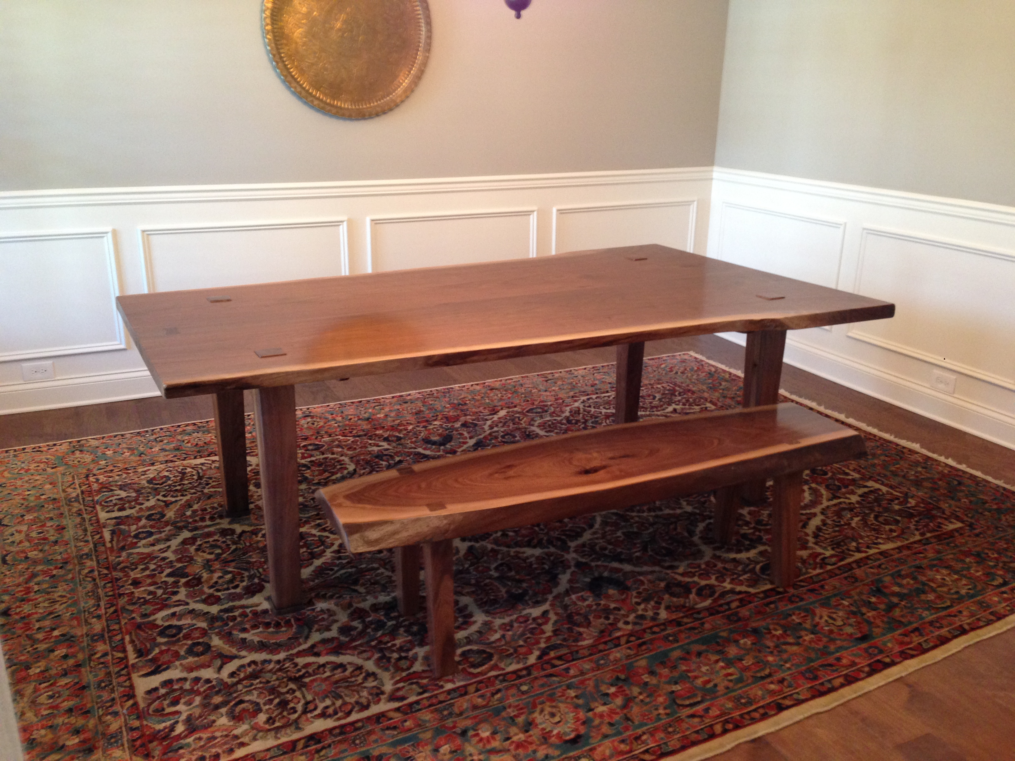 Peachy Walnut Dining Table And Bench Hitefield Woodworks 865 924 1452 Caraccident5 Cool Chair Designs And Ideas Caraccident5Info